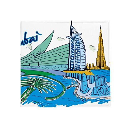 DIYthinker Emiratos Árabes Unidos Dubai Watercolor Antideslizante Alfombra Pet Cuadrado casa Cocina Puerta 80cm Regalo