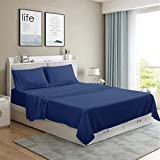 MOONCAST 4 Pieces Queen Bed Sheet-Extra Soft and Hotel Luxury Feeling-Durable Machine Washable Microfiber-Navy Blue Bed Sheet Set(Queen,Navy Blue)