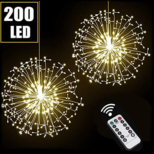 GTSP 2 Pack Fireworks Lights Outdoor String Lights Battery Operated, 200 LED Hanging Starburst Copper Wire Fairy Lights 8 Modes Christmas Lights for Bedroom Party Indoor Patio Garden Decoration
