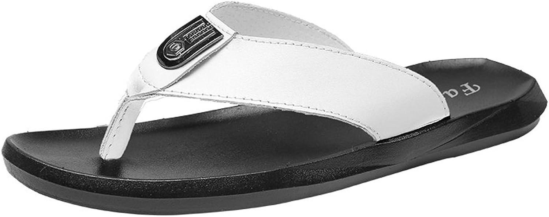XUJW-Sandals, Men's Summer Casual Thong Flip Flops shoes PU Leather Beach Slippers Non-Slip Soft Flat Sandals