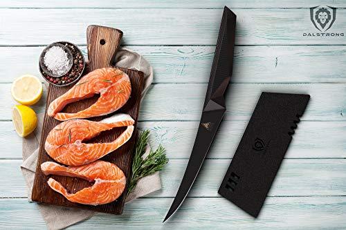 "DALSTRONG Curved Boning Knife - 6"" - Shadow Black Series - Black Titanium Nitride Coated German HC Steel - Sheath - NSF…"