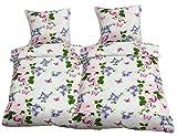 Leonado Vicenti - Bettwäsche 135x200 4teilig weiß rosa Schmetterlinge Blumen
