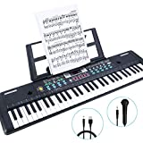 RenFox 61-Key Keyboard Piano with Microphone & Music Stand Portable Electronic Kids Piano Keyboard for Beginners 22.9x7.9x2.3 Inch