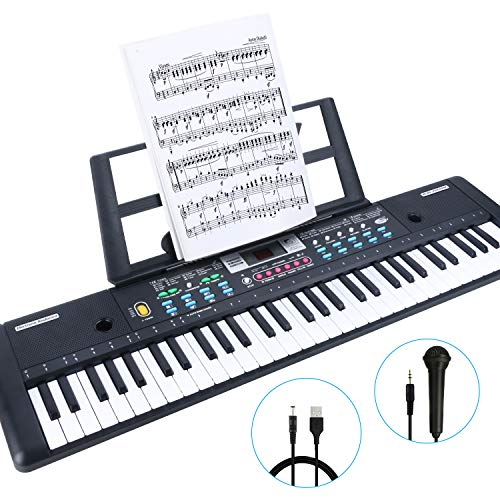 Best Deals! RenFox 61-Key Keyboard Piano with Microphone & Music Stand Portable Electronic Kids Pian...