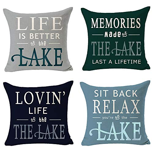 NIDITW Set of 4 Life is Better at The Lake Cotton Burlap Decorative Square Throw Pillow Case Cushion Cover for Couch Living Room 18 inches (E)