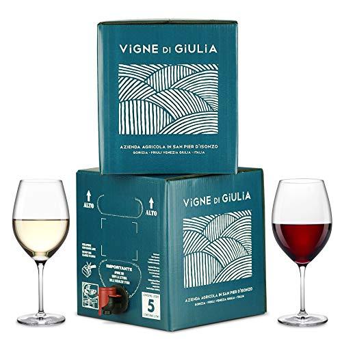Bag in Box vino Pinot Grigio 5L + Bag in Box vino Refosco dal Peduncolo Rosso 5L - Vigne di Giulia
