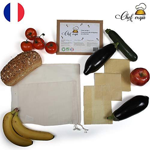 Bee wrap – Emballages Alimentaires en Cire d'Abeille Bio Réutilisables [3 tailles] + 2 Sacs en Tissu Coton Bio pour Fruits Légumes [2 tailles] - Kit 5 Produits Ecologiques Zéro déchet – Cadeau Ecolo