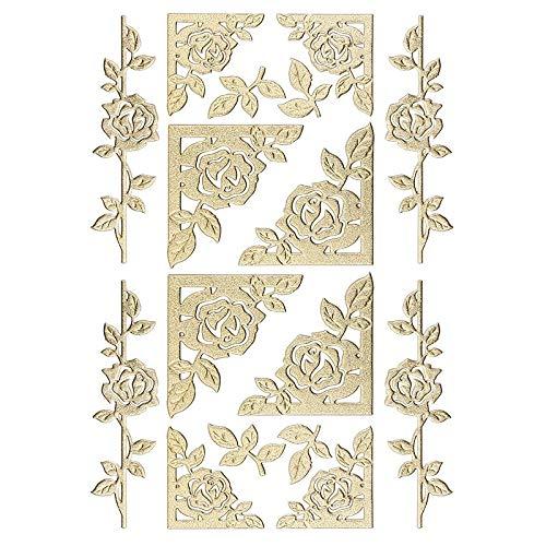 Ideen mit Herz 3-D Sticker Deluxe | Zur Hochzeit, Verschiedene Hochzeitsmotive | Erhabene Aufkleber | Bogengröße: 21 x 30 cm (Rosenranken & Rahmen | Gold)