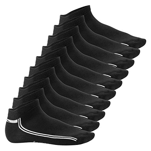 Footstar Damen und Herren Motiv Sneaker Socken (10 Paar) - Schwarz 39-42