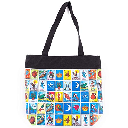 Loteria Mexican Bingo Tote Purse - Original Loteria Mexicana Bingo Bag With Great Storage Space - Cosmetic Bag, Toiletry Bag, Cosmetic Organizer by Ole Rico