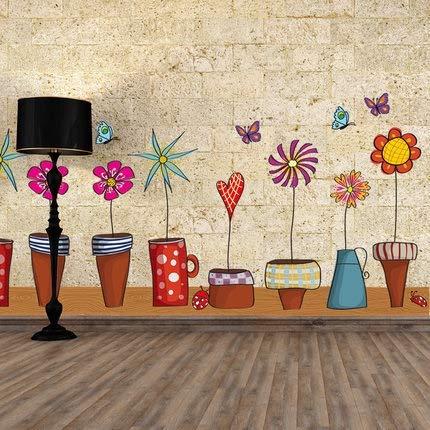 JSJJAYH Pegatinas de Pared Flor Tiesto Naturaleza de la Mariposa Preciosa Ventana Tatuaje de Pared de PVC Etiqueta de la Pared decoración del hogar decoración DIY de la Sala Decoraciones de Interior