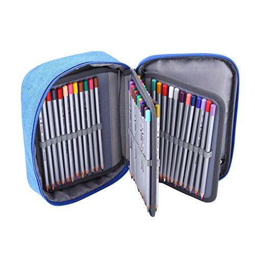 Astuccio a 3 strati colorato di grande capacità, 72 scomparti con cerniera, portapenne e portapenne multifunzione, per disegno, pittura, colore: blu