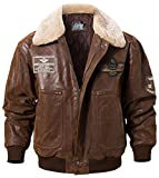 FLAVOR Men's Real Leather Bomber Jacket with Removable Fur Collar Aviator (Large, Brown)