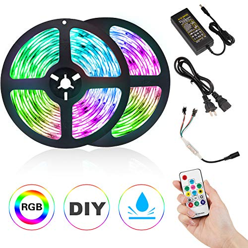 DLIANG LED Strip Light Kit DreamColor 32.8ft Flexible Tape Lights 5050 SMD RGB 300 LEDs Waterproof IP65 Rope Light with RF Wireless Remote Controller and 12V Power Adapter for Home Kitchen Party Deco