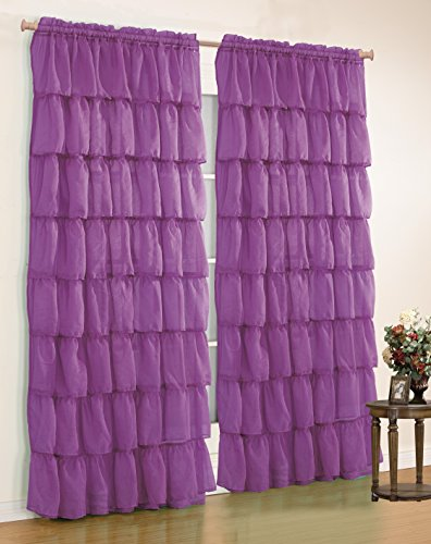 Mk Collection Gypsy Crushed Ruffle Sheer Curtains - 55' Width by 84' Inch Length (Purple)