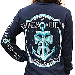Southern Attitude Bow Anchor Navy Blue Long Sleeve Shirt