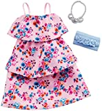 Barbie Clothes: Pink Floral Dress, Plus 2 Accessories Dolls, Gift for 3 to 7 Year Olds, GHW80