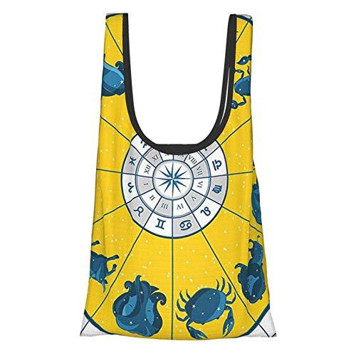 Astrología Decoraciones Moderno Original Zodiaco Natal Gráfico Con Símbolos Coloridos Diseño Esotérico Impresión Amarillo Azul Reutilizable Bolsas De Comercio Bolsa De Compras Ecológica
