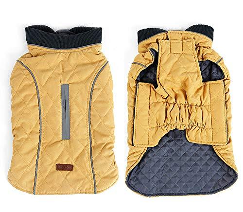 Penivo 6 Farben Haustier Jacke Hundebekleidung Wasserabweisend Winter Warme Kleidung Weste Reversible Winterjacken Mäntel für Kleine Mittelgroße Hund (S, Gelb)