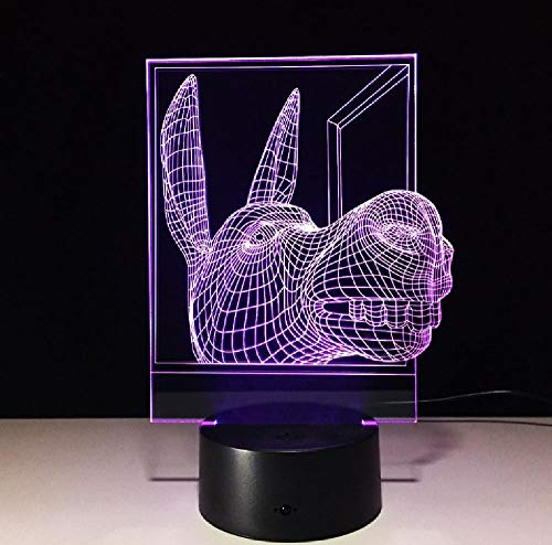 Donkey 3D lámpara LED noche luz con 7 colores cambiantes USB Led bebé dormir luces para el hogar Decora regalo