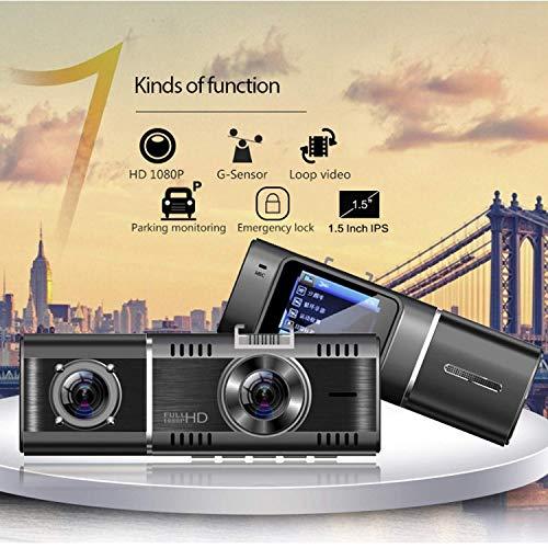 WGFGXQ Cámara De Salpicadero para Coches, Cámara De Salpicadero DVR para Coche De 1,5 Pulgadas Doble Lente 1080P Grabadora De Vídeo HD VDR Sensor G Grabación En Bucle Monitor De Aparcamiento