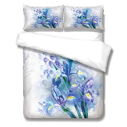 N/S Bettbezug Mikrofaser Bettwäsche (220x240) cm + Kissenbezug (48X75) cmx2 - Superweiches Bettbezug Set,mit Reißverschluss,Orchidee