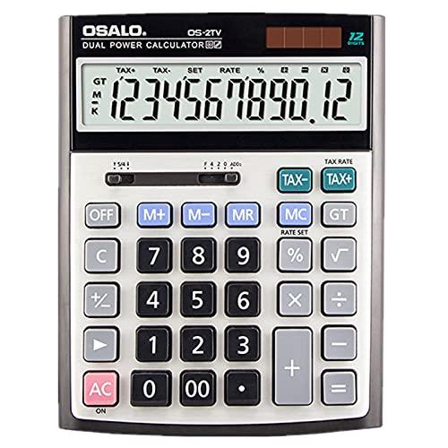 実務電卓 12桁 税計算機能 デスクタイプ ソーラーと電池二重電源 早打ち機能 大型 オフィス 簿記