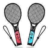 Raqueta de tenis para Nintendo Switch, Raqueta de tenis Yocktec Joy-Con Kit de accesorios para juegos de Nintendo Switch Mario Tennis Aces-Negro (Paquete de 2)