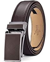 DWTS Men's Belt Ratchet Genuine Leather Dress Belt for Men with Slide Click Buckle Adjustable Trim to Fit (B12 Brown, 28