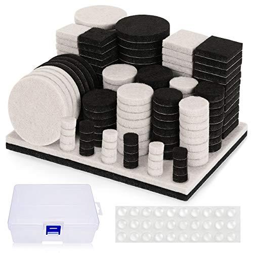 Almohadillas de Fieltro Adhesivo, Nisear Protectores para patas de mesa 178 fieltros adhesivos y 30 lagrimas silicona adhesivas, protector patas sillas para muebles y sillas