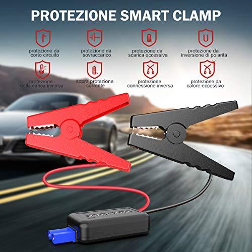 YABER Avviatore Batteria Auto 800A 12800mAh Avviatore Emergenza per Auto (Adatto per Motori Fino a 6,5L Benzina / 5,0L Diesel), Booster Avviamento Auto Portatile con Torcia LED, Tipo C