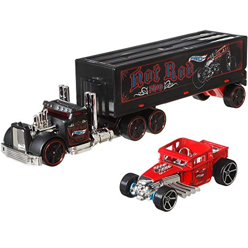 Hot Wheels Super Rigs, Transporter Vehicle with 1 Hot Wheels 1:64 Scale Car, Gift for Collectors & Kids Ages 3 Years Old & Up, styles may vary