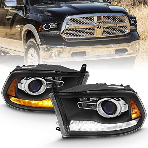 AmeriLite Projector Matte Black Headlights LED DRL Switchback Parking Turn Signal for 09-18 Dodge Ram 1500 2500 3500 Truck- Passenger and Driver Side