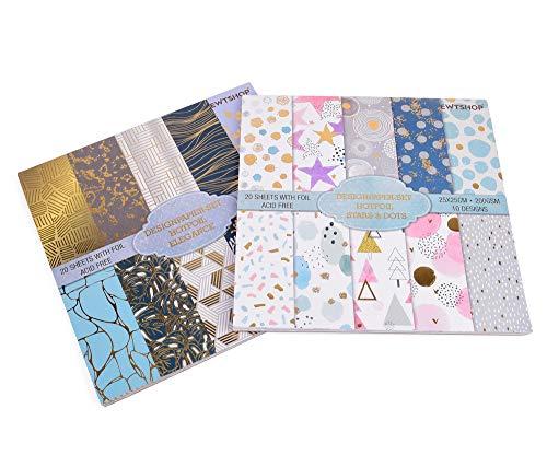 ewtshop® 2 Blöcke Designpapier HOTFOIL, Stars&Dots + Elegance, 25x25cm, 20 Designs, schimmerndes Motivpapier mit Goldfolie