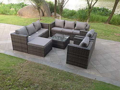 9 Seater Grey Rattan Sofa Set Coffee Table Footstool Garden Furniture Outdoor