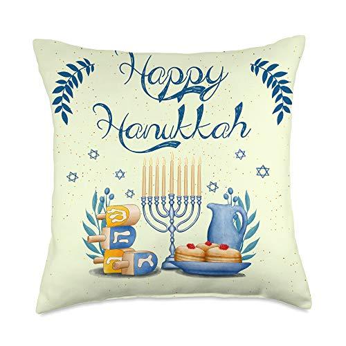 We Love Hanukkah Co. Happy Hanukkah Menorah Hanukah Chanukah Jewish Celebration Throw Pillow, 18x18, Multicolor