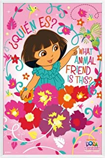 1art1 Dora The Explorer Poster and Frame (Plastic) - What Animal Friend is This? (36 x 24 inches)