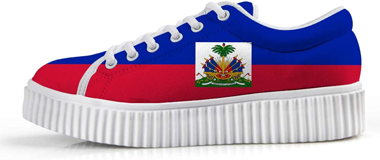 Owaheson Platform Lace up Sneaker Casual Chunky Walking shoes Low Top Women Haiti Flag