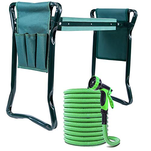 [Ideal Combo] Ohuhu Garden Kneeler and Seat with 75 FT Expandable Garden Hose & 10-Function Spray Nozzle, Foldable Garden Stool Combo Durable 3-Layer Flexible Water Hose with Hose Holder & Storage Bag