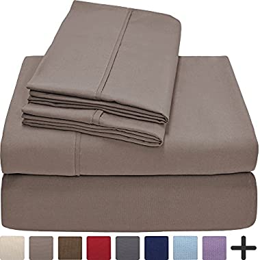 Bare Home Premium 1800 Ultra-Soft Microfiber Collection Sheet Set - Double Brushed - Hypoallergenic - Wrinkle Resistant - Deep Pocket (King, Taupe)
