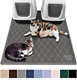 Gorilla Grip Original Premium Durable Multiple Cat Litter Mat, 47x35, XL Jumbo, No Phthalate, Water Resistant, Traps Litter from Box and Cats, Scatter Control, Mats Soft on Kitty Paws, Gray