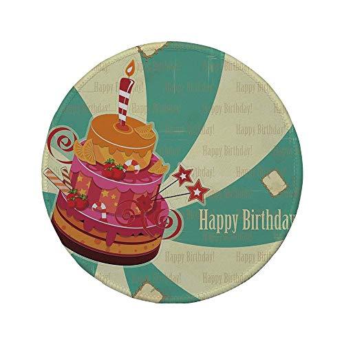 Rutschfreies Gummi-rundes Mauspad Geburtstagsdekorationen köstliche große Kuchen-reife Frucht-Bonbons auf gewirbeltem Vintage-Hintergrund mehrfarbig 7.9