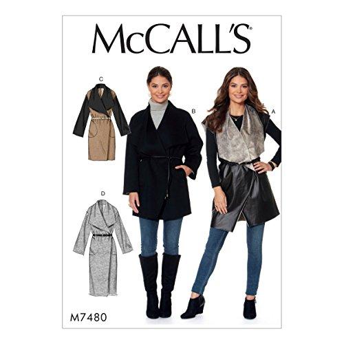 Mccall's patronen mist vest en jassen, meerdere kleuren, maten XSM-MED-P