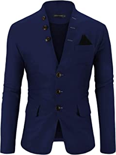 WEEN CHARM Mens Casual Slim Fit Stripe Two Button Single Breasted Blazer Jacket Sport Coat