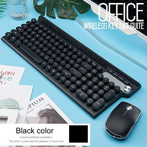XYQ 2.4G USB Draadloze Toetsenbord Muis voor Macbook Asus Dell Laptop Toetsenbord Oplaadbare Toetsenbord Muis * Wit/Geel/Zwart Tricolor, Zwart
