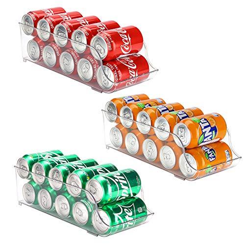 Puricon 3Packs Organizador de Latas y Botellas para Refrigerador, Contenedores Apilables de Plástico para Almacenamiento de Bebidas, Frutas, Verduras, Aperitivos, etc. -Transparente