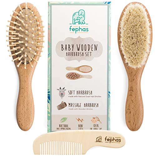 Wooden Baby Hair Brush and Comb Set for...