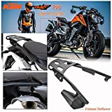 Motocicleta Negro Equipaje trasero Estante de carga Barra de estante extendida Soporte de montaje superior Kit de placa de soporte con deflector de escape para 2018 2019 KTM Duke 790 Duke790