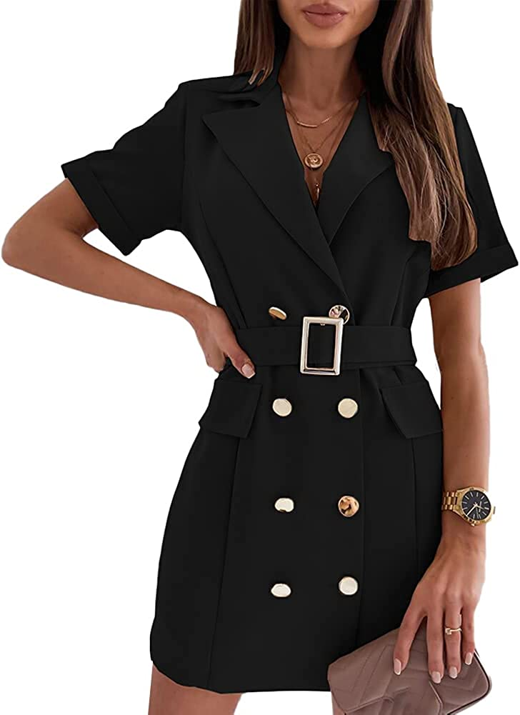 Women's Short Sleeve Double Breasted Casual Work Office Blazer Mini Dress with Belt