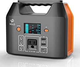 VOLO 150W Portable Power Station, 177Wh(48000mAh3.7V) Camping Lithium Battery Pack with 1AC 110V/ 2DC 12V/ 1QC3.0 USB-C/ 2USB/ Flashlight, Emergency Battery Pack Supply for Outdoor Camping Family